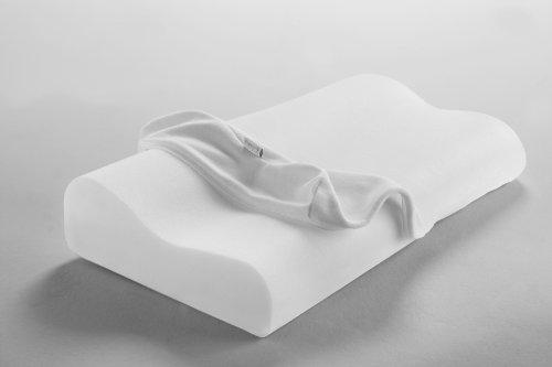 Dormisette Q995 waschbares viscoelastisches Nackenstützkissen, atmungsaktiv, 61 x 32 x 8.5 – 11 cm, weiß