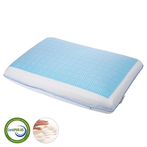 LANGRIA Kopfkissen Reversible Kühlgel Kissen Memory-Schaum Kissen, mit Reißverschluss Mesh Fabrik Abdeckung, ergonomisches Design, CertiPUR-US zertifiziert, (23,6 x 15,7 x 4,7 Zoll) Weiß und Blau