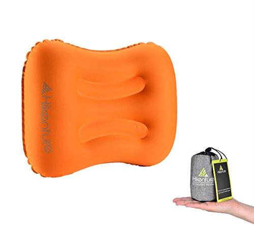 Aufblasbares Reisekissen von Hikenture® - Camping Kissen - Ultraleichtes Reisekissen – Luftkissen Nackenkissen - Camping Pillow für Camping, Reise, Outdoor, Büro (Orange)