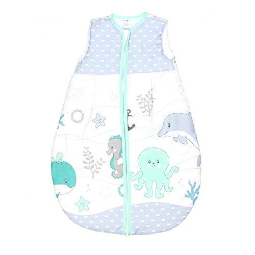 Baby Schlafsack Baumwolle Vierjahreszeiten Kinderschlafsack Wattierter Babyschlafsack ohne Ärmel Frühling Herbst Winter, Farbe: Ozean Grün, Größe: 104-110